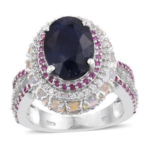 Kanchanaburi Blue Sapphire, Multi Gemstone Platinum Over Sterling Silver Split Ring (Size 7.0) TGW 12.370 cts.
