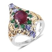 Niassa Ruby, Kagem Zambian Emerald, Tanzanite 14K YG and Platinum Over Sterling Silver Openwork Elongated Ring (Size 6.0) TGW 5.42 cts.