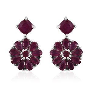 Niassa Ruby Platinum Over Sterling Silver Dangle Earrings TGW 8.97 cts.