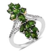 Russian Diopside, White Zircon 14K YG and Platinum Over Sterling Silver Split Elongated Ring (Size 5.0) TGW 3.97 cts.