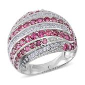 Pink Tourmaline, White Zircon Sterling Silver Ring (Size 10.0) TGW 4.220 cts.