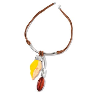 Designer Inspired Yellow and Cognac Chroma, Wooden Pendant on Brown Faux Leather Necklace (24 in)