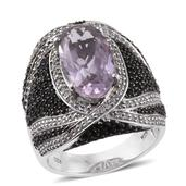 Rose De France Amethyst, Thai Black Spinel, White Zircon Platinum Over Sterling Silver Ring (Size 7.0) TGW 9.700 cts.