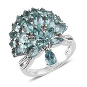 Madagascar Paraiba Apatite, White Zircon Platinum Over Sterling Silver Crown Charm Ring (Size 8.0) TGW 6.45 cts.