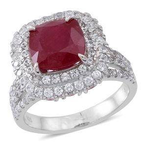 Niassa Ruby, White Zircon Sterling Silver Ring (Size 6.0) TGW 11.610 cts.
