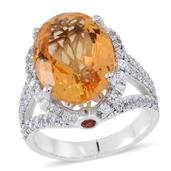 Brazilian Citrine, Red Sapphire, White Zircon Sterling Silver Split Ring (Size 6.0) TGW 12.470 cts.