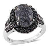 Austrian Pinolith, Thai Black Spinel Black Rhodium and Platinum Over Sterling Silver Ring (Size 11.0) TGW 8.07 cts.
