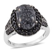 Austrian Pinolith, Thai Black Spinel Black Rhodium and Platinum Over Sterling Silver Ring (Size 5.0) TGW 8.07 cts.