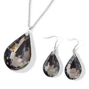 Gray Glass Stainless Steel Earrings and Pendant With Chain (24 in)