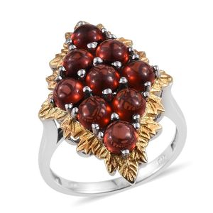 Mozambique Garnet 14K YG and Platinum Over Sterling Silver Elongated Ring (Size 6.0) TGW 6.92 cts.