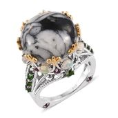 Austrian Pinolith, Multi Gemstone 14K YG and Platinum Over Sterling Silver Ring (Size 10.0) TGW 23.96 cts.