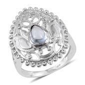 Sky Blue Topaz Platinum Bond Brass Openwork Ring (Size 6.0) TGW 1.40 cts.
