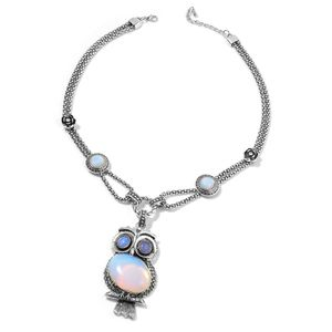 Creature Couture - Opalite, Austrian Crystal Silvertone Owl Necklace (22-24 in) TGW 100.00 cts.