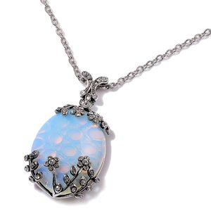 Opalite, White Austrian Crystal Stainless Steel Pendant With Chain (20 in) TGW 15.000 Cts.