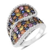 Multi Sapphire Sterling Silver Cluster Bypass Ring (Size 9.0) TGW 6.00 cts.