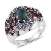 Ethiopian Sable Welo Opal, Multi Gemstone Platinum Over Sterling Silver Ring (Size 9.0) TGW 5.00 cts.