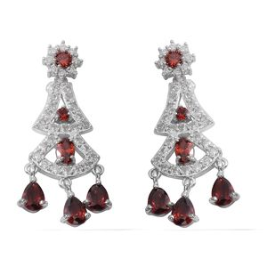 Simulated Ruby, Simulated Diamond Silvertone Chandelier Earrings TGW 45.80 cts.
