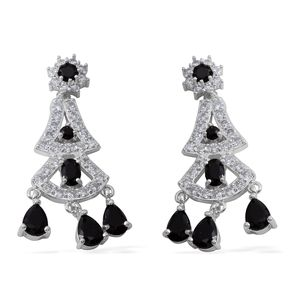 Simulated Black Spinel, Simulated Diamond Silvertone Chandelier Earrings TGW 45.80 cts.