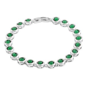 Green Glass Silvertone Bracelet (7.25 In)