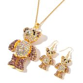 TLV Multi Color Austrian Crystal Goldtone Teddy Bear Earrings and Pendant With ION Plated YG Stainless Steel Chain (24 in)