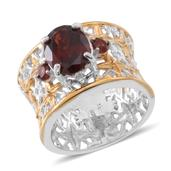 Mozambique Garnet 14K YG Over and Sterling Silver Openwork Wide Band Ring (Size 5.0) TGW 3.100 cts.