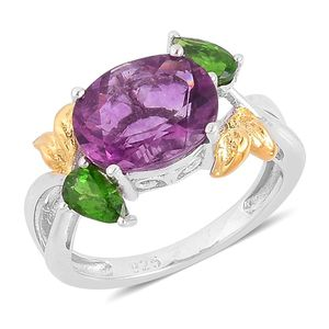 Purple Fluorite, Russian Diopside 14K YG Over and Sterling Silver Split Ring (Size 8.0) TGW 3.75 cts.