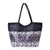 J Francis - Gray with Black Leopard Print Tote Bag (21x6.5x14 in)