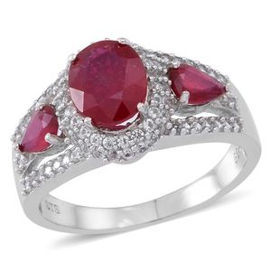Niassa Ruby, Cambodian White Zircon Sterling Silver Ring (Size 9.0) TGW 4.37 cts.
