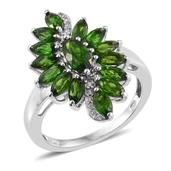 Russian Diopside, White Zircon Platinum Over Sterling Silver Ring (Size 5.0) TGW 3.59 cts.
