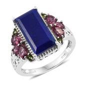 Lapis Lazuli, Orissa Rhodolite Garnet, Russian Diopside Platinum Over Sterling Silver Ring (Size 6.0) TGW 8.630 cts.