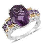 Purple Fluorite, Amethyst 14K YG and Platinum Over Sterling Silver Ring (Size 6.0) TGW 11.72 cts.