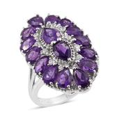 Lusaka Amethyst, Cambodian Zircon Platinum Over Sterling Silver Elongated Ring (Size 9.0) TGW 7.470 cts.