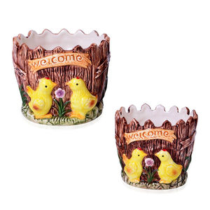 Set of 2 Chickens Printed Ceramic Garden Pots (5x5, 4x4 in)