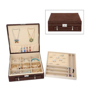 TLV Brown Velvet 2 Tier 23 Sections Jewelry Box with Anti Tarnish treated lining, Store Approx 60 Rings, 10 Necklaces, 3 Bracelets and 10 Open Sections (10.2x10.2x3.2 in)