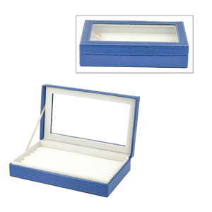TLV Blue Faux Leather Dragon Skin Pattern Jewelry Box with Anti-Tarnish Treated Lining (Approx. 63 Rings) (10x2x6 in)