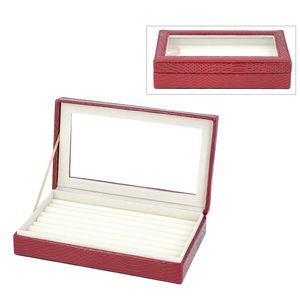 Burgundy Dragon Skin Pattern Faux Leather Ring Box with Anti-Tarnish Treated Lining (Approx. 63 Rings) (10x2x6 in)