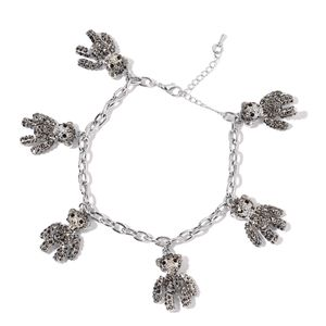 Black and Gray Austrian Crystal Silvertone Bracelet with Bear Charms (8.50 In)
