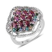 J Francis - Platinum Over Sterling Silver Openwork Ring Made with Multi Color SWAROVSKI ZIRCONIA (Size 9.0) TGW 4.79 cts.
