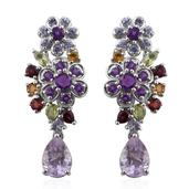 Rose De France Amethyst, Multi Gemstone Platinum Over Sterling Silver Floral Earrings TGW 8.25 cts.