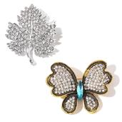 Set of 2 White Austrian Crystal, Blue Glass Dualtone Sugar Maple Leaf and Butterfly Brooches