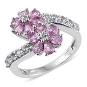 Madagascar Pink Sapphire, White Topaz Platinum Over Sterling Silver Bypass Floral Ring (Size 6.0) TGW 3.02 cts.