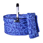 2 Piece Blue Damask Polyester Collapsible Insulated Picnic Basket with Matching Foldable Waterproof Blanket (55x44 In)