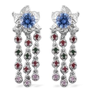J Francis - Platinum Over Sterling Silver Drop Earrings Made with Multi Color SWAROVSKI ZIRCONIA TGW 4.49 cts.