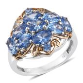 J Francis - 14K YG and Platinum Over Sterling Silver Openwork Ring Made with Blue SWAROVSKI ZIRCONIA (Size 7.0) TGW 5.85 cts.