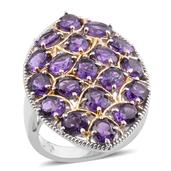 Lusaka Amethyst 14K YG and Platinum Over Sterling Silver Elongated Ring (Size 7.0) TGW 6.36 cts.