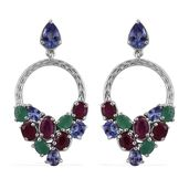 Tanzanite, Ruby, Kagem Zambian Emerald Platinum Over Sterling Silver Dangle Earrings TGW 5.170 Cts.
