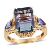 Bi-color Fluorite, Tanzanite 14K YG Over Sterling Silver Ring (Size 9.0) TGW 10.030 cts.