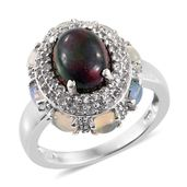 Ethiopian Sable Welo Opal, Ethiopian Welo Opal, White Topaz Platinum Over Sterling Silver Ring (Size 7.0) TGW 3.95 cts.