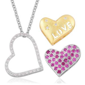 Set of 3 Simulated Red and White Diamond 14K YG Over & Sterling Silver Heart Pendants With Stainless Steel Chain (20 in) TGW 0.800 cts.