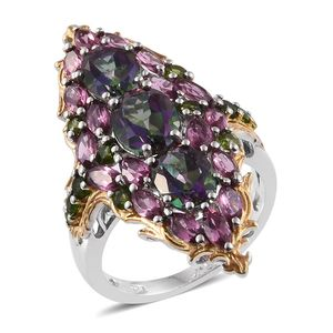 Northern Lights Mystic Topaz, Orissa Rhodolite Garnet, Russian Diopside 14K YG and Platinum Over Sterling Silver Elongated Ring (Size 6.0) TGW 9.47 cts.